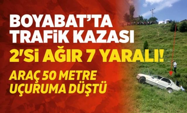 Boyabat'ta Araç Dereye Uçtu 2 Ağır 7 Yaralı  06.072019 Cuma günü Boyabat Yeşilyurt Köyü'nde Trafik kazası meydana geldi.