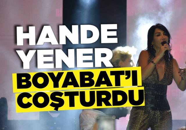 Hande Yener Boyabat'ta konser verdi 30.11.2019 Cumartesi gecesi ünlü pop yıldızı Hande Yener konser verdi. Dodo Plus açılışını ünlü yıldız Hande Yener konseri ile gerçekleştirdi.