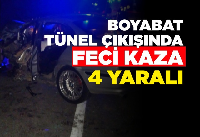 Dranaz tünel çıkışında trafik kazası 4 yaralı  19.09.2019 Perşembe akşam saatlerinde Boyabat'ta meydana gelen trafik kazasında 4 kişi yaralandı.