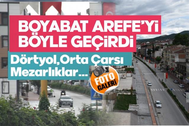 Boyabat'ta hayat durdu, caddeler boş kaldı Tüm Türkiye'de olduğu gibi Koronavirüsle (Kovid-19) mücadele kapsamında 81 ilde 23-24-25 ve 26 Mayıs'ta uygulanan sokağa çıkma kısıtlaması Boyabat'ta da  22 Mayıs Cuma gecesi 24:00 itibari ile başladı