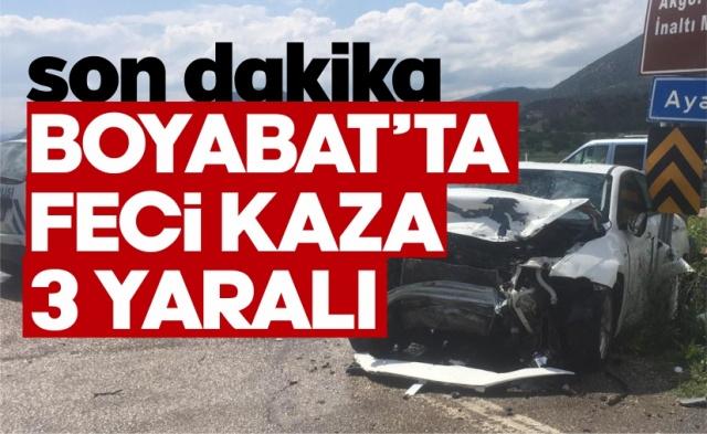 03.06.2020 Çarşamba günü Boyabat'ta meydana gelen trafik kazasında 3 kişi yaralandı.
