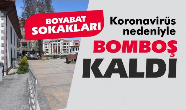 Boyabat'ta sokaklar bomboş kaldı  Boyabat'ta Koronavirüs nedeniyle sokaklar ve caddeler bomboş kaldı.
