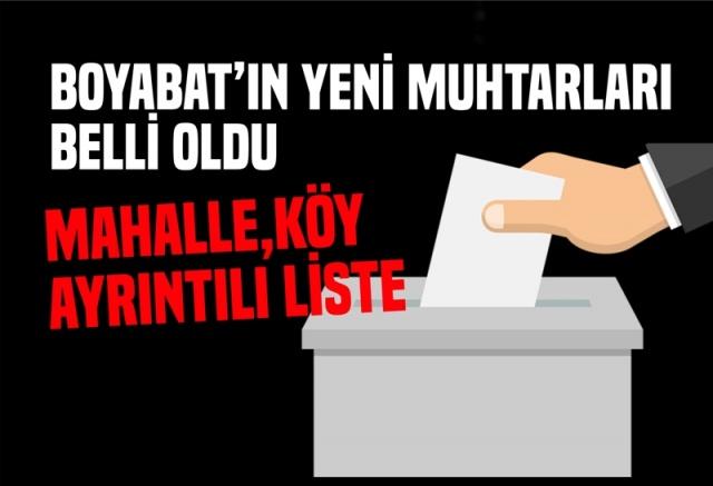 Boyabat'ın Yeni Muhtarları Belli Oldu  31 Mart 2019 Pazar günü yapılan seçim sonuçlarına göre Boyabat'ta yen muhtarlar belli oldu işte tam liste.