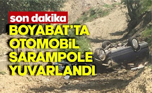 Boyabat'ta otomobil şarampole yuvarlandı !  23.06.2020 Salı günü Boyabat'ta meydana gelen trafik kazasında 1 kişi yaralandı.