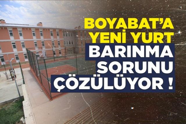 Boyabat'ta Öğrenci Barınma Sorunu Çözülüyor  Sinop Kredi Yurtlar Kurumuna bağlı olarak yapılan  Boyabat KYK Yurdu inşaat çalışmaları sona erdi ve hizmet vermeye başladı.