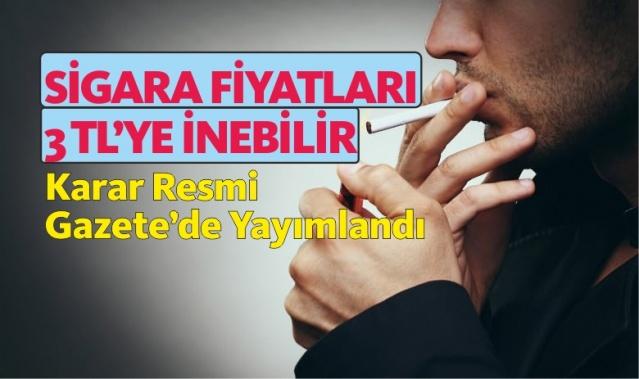 Sigara Fiyatları 3 Liraya İnebilir! Karar Resmi Gazete'de Yayımlandı!  Cumhurbaşkanı Recep Tayyip Erdoğan'ın sigara ile mücadele konusunda en çok uyguladığı yöntem sigara fiyatlarının arttırılması ve dar gelirli vatandaşların sigaraya erişimini kısıtlayarak sigarayla mücadele edilmesi yöntemi yer alıyor.