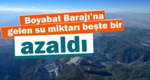 Boyabat Barajı'na gelen  su miktarı azaldı !