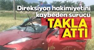Boyabat'ta kontrolden çıkan otomobil takla attı !