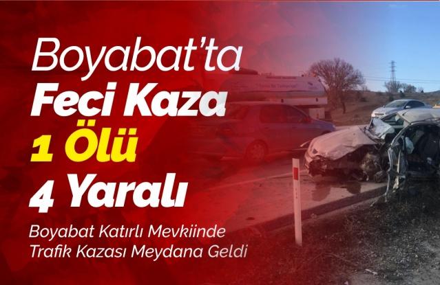 Boyabat'ta Trafik Kazası 1 Ölü 4  Yaralı    28.01.2019 Pazartesi günü Boyabat'ta meydana gelen kazada 1 kişi öldü 4 kişi  yaralandı.  Alınan bilgiye göre Katırlı Mevkiinde meydana gelen kazada 34 ZK 0138 plakalı araçla 34 YK 7360 plakalı araç hatalı sollama sebebiyle çarpıştı.  Kazada Saraydüzü mevkiinden Boyabat mevkiine gelmekte olan 34 YK 7360 plakalı aracın sürücüsü Fehmi B. hayatını kaybederken diğer araçta bulunan Sabri Uzun,Gürsel Uzun,Ramazan Çelik,Yusuf Çelik  112 acil servis ekipleri tarafından Boyabat 75.Yıl Devlet Hastanesine kaldırıldı.  Olayla ilgili inceleme başlatıldı.