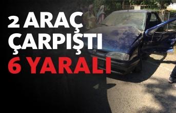 İki araç çarpıştı : 6 yaralı