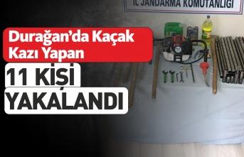 Durağan'da 11 Kişi Kaçak Kazı Sırasında Yakalandı