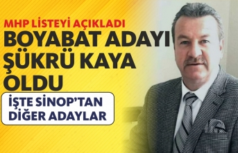 Mhp Sinop Adaylarını Açıkladı,Boyabat Adayı Şükrü Kaya Oldu