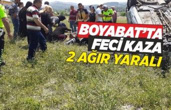 Boyabat'ta tatile gelen aile kaza geçirdi