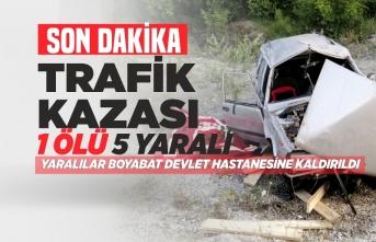 Yenice Köyü Mevkiinde Otomobil şarampole devrildi: 1 ölü, 5 yaralı
