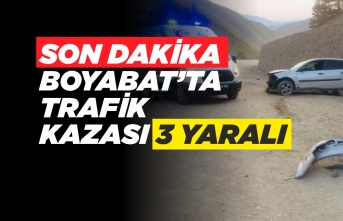 Boyabat'ta Kaza Araç Duvara Çarptı 3 Yaralı
