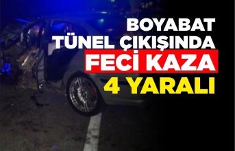 Boyabat Tünel Çıkışında Trafik Kazası 4 Yaralı !