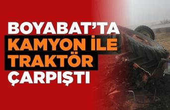 Boyabat Osmanköy mevkiinde trafik kazası 1 ağır yaralı
