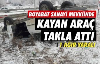 Sanayi Kavşağında kayan araç takla attı 1 ağır yaralı