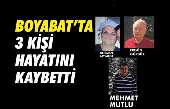 Boyabat'ta 3 kişi hayatını kaybetti