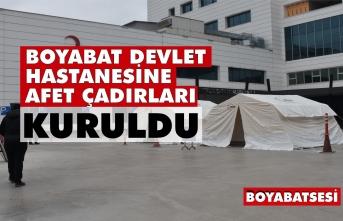 Boyabat Devlet Hastanesi'ne afet çadırları kuruldu