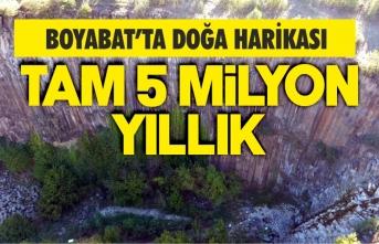 Boyabat'ta 5 milyon yıllık altıgen kayalar