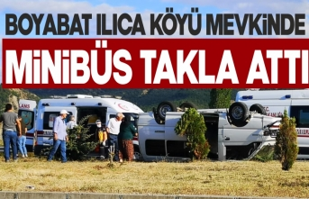 Boyabat Ilıca Köyü mevkinde minibüs takla attı !