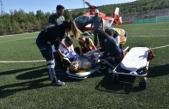 Ayakları üzerinden kamyongeçenağır yaralı mühendis, helikopterle Samsun'a sevk edildi