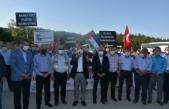 """Boyabat'ta """"Boyabat Kudüs'e Umut Ol"""" konvoyunda İsrail, protesto edildi."""