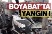 Boyabat'ta çıkan yangında 3 traktör 1 balya makinası,römork ve depo yandı !