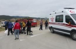Boyabat Daylı Stadı önünde motosiklet kazası...
