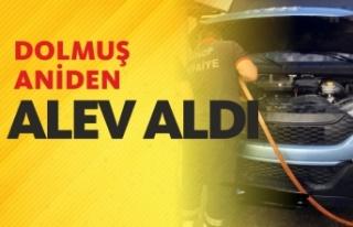 HAREKET HALİNDEKİ DOLMUŞ ALEV ALDI