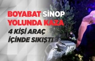 Boyabat Sinop Yolunda Trafik Kazası 4 Yaralı