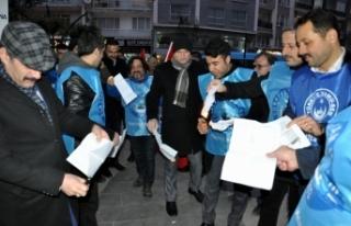 Memurlar Sinop'ta bordro yaktı
