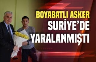 Boyabat Kaymakamı Fatih Aksoy'dan yaralı askere...