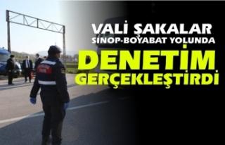 Vali Şakalar Boyabat-Sinop yolunda denetimleri inceledi