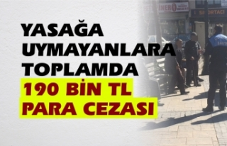 Yasağa uymayanlara 190 bin tl para cezası kesildi