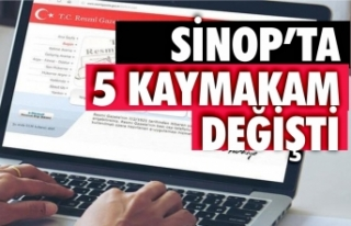 Sinop'ta 5 ilçe kaymakamı değişti