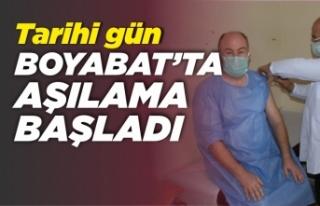 Boyabat'ta Covid-19 aşısı uygulanmaya başladı