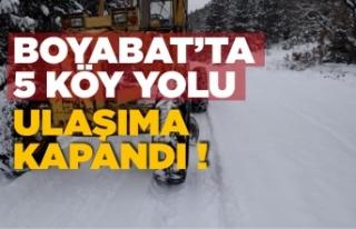 Kar geri geldi ! Boyabat'ta 5 köy yolu ulaşıma...