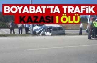 Boyabat Otogar mevkiinde trafik kazası 1 kişi hayatını...