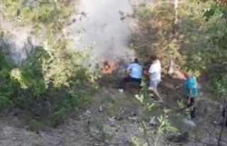Boyabat'ta yanan ormanlık alan vatandaşlar...
