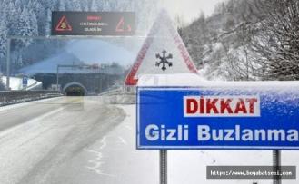 Boyabat Sinop yolunda gizli buzlanmaya dikkat !