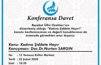 """Boyabat Ülkü Ocakları'ından """"Kadına Şiddete Hayır"""" konferansına davet"""