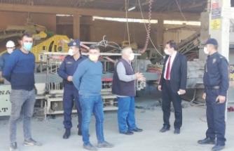 Boyabat'taq Organize Sanayi işletmelerine Covid 19 denetimi
