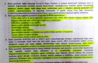 Sinop Valiliğinden Pandemi ile ilgili yeni kararlar