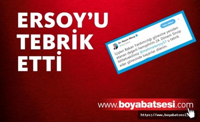 Nazım Maviş'ten Mehmet Ersoy'a Tebrik Mesajı