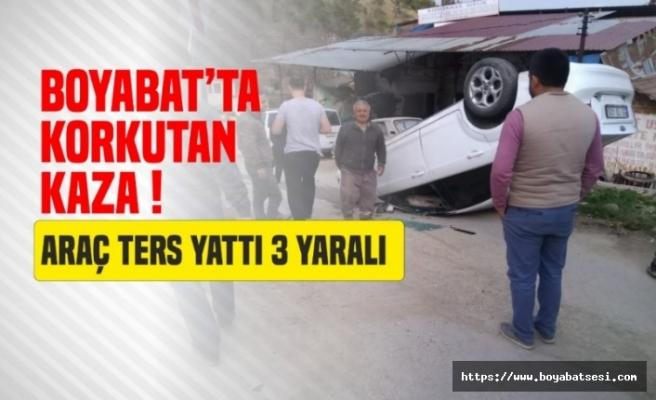 Boyabat Yenimahalle'de Araç Ters Döndü 3 Yaralı