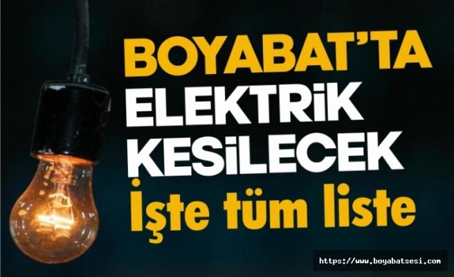 Boyabat'ta planlı elektrik kesintisi yaşanacak
