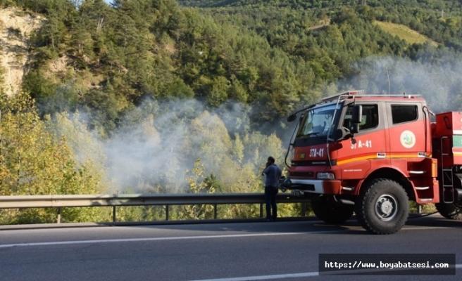 Sinop Boyabat yolunda orman yangını
