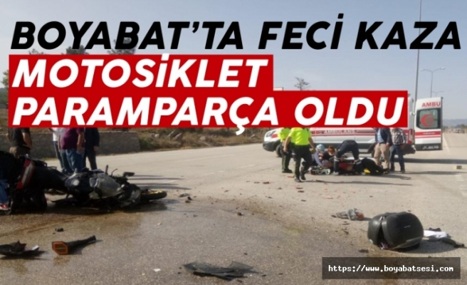 Boyabat'ta motosiklet ile araç çarpıştı  1 yaralı !